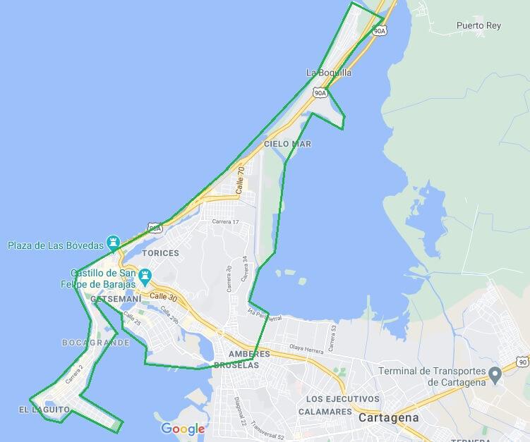 Mapa de cobertura Cartagena