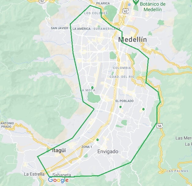 Mapa de cobertura Medellín