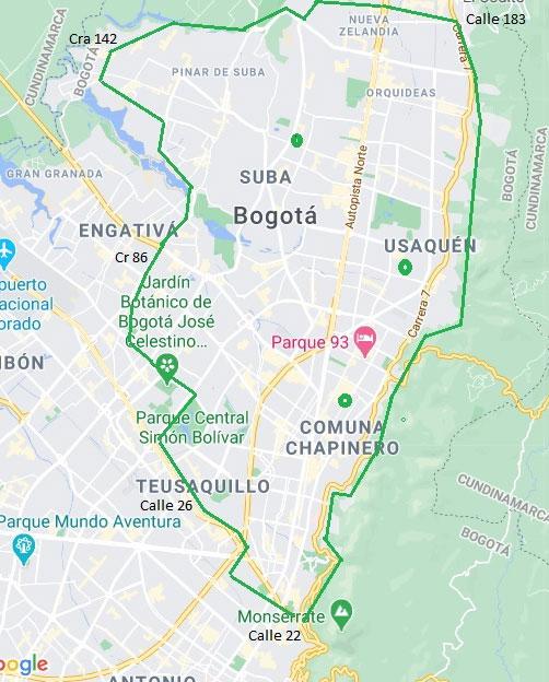 Mapa de cobertura Bogotá