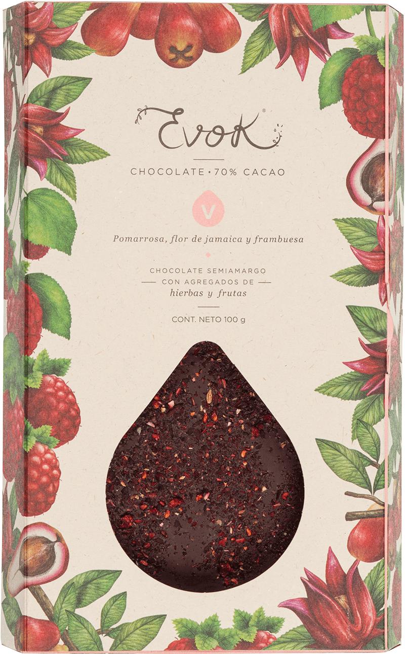 Evok barra de chocolate pomarrosa