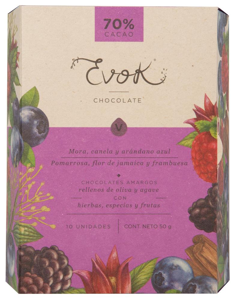 Bombones de chocolate Mora – Canela – Arándano azul