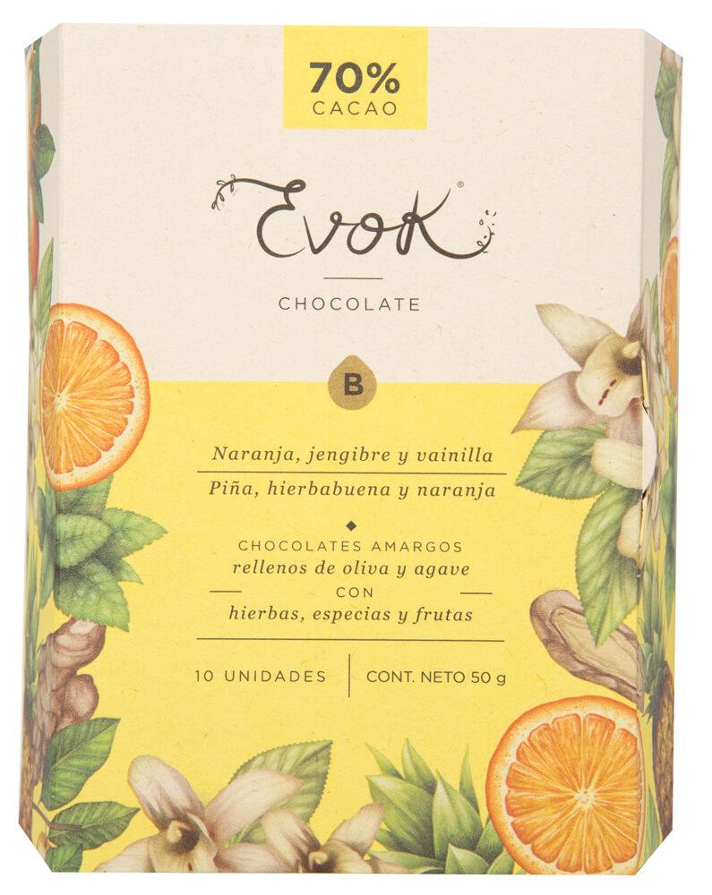 Bombones de chocolate Piña – Hierbabuena – Naranja