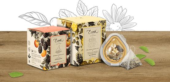 Infusiones Evok: mezclas de hierbas, especias y frutas.